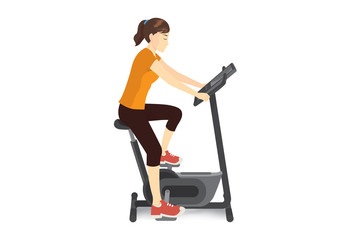 Woman doing exercise with stationary bicycle for firming her body. Illustration about workout machine.