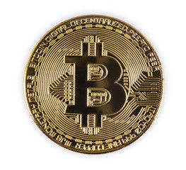 gold bitcoin isolated on white background