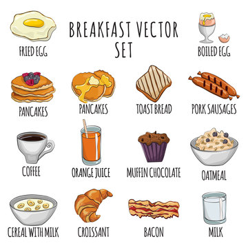 Breakfast cartoon vector set: fried and boiled eggs, coffee, toast, bacon, pancakes, oatmeal, cereal, orange juice, milk, sausages, muffin, croissant. Healthy food collection on white background.