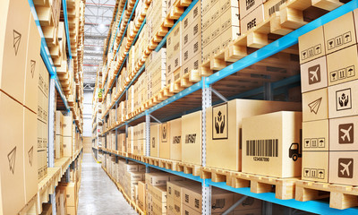 Modern warehouse full of cardboard boxes. 3d illustration