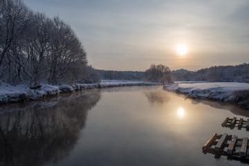 Frosty morning on the Pekhorka River