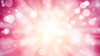 Magenta glitter sparkles rays lights bokeh Festive Elegant abstract background.