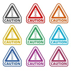 Attention caution sign icon, color icons set