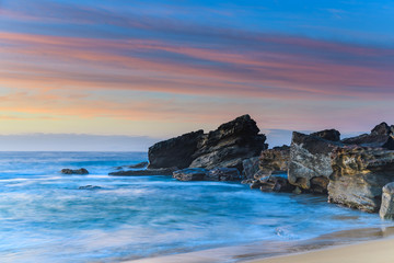Rocky Outcrop Sunrise Seascape