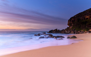 Dawn Seascape, Beach and Headland