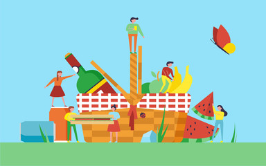 Picnic illustration. Little people on nature with picnic basket, sandwich, fruits, wine and soda