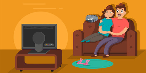 Couple watching TV, sitting on the sofa in living room in an embrace. Vector cartoon flat illustration of young man and woman character on the couch.