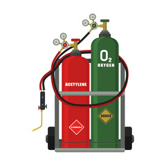 Vector illustration. Gas welding on a white background.