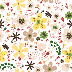 Amazing floral vector seamless pattern