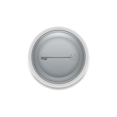 Flat style of badge pin on back side isolated on white.