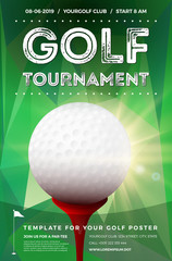 Golf tournament poster template with sample text