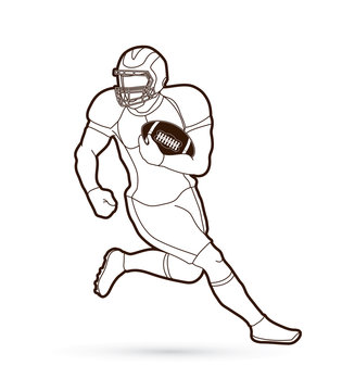 American football player, Sportsman action, sport concept outline graphic vector.