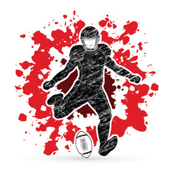 American football player, Sportsman action, sport concept designed on splatter blood background graphic vector.