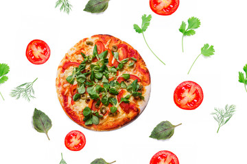 Vegetarian pizza, seamless pattern
