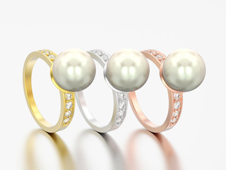 3D illustration three different gold diamond engagement wedding rings with pearl