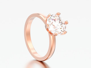 3D illustration rose gold traditional solitaire engagement diamond ring