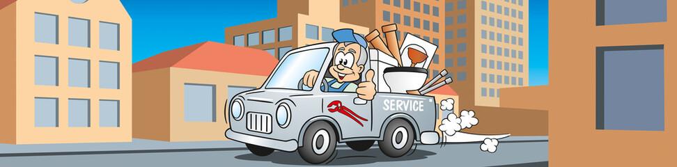 Handwerker Installateur im Servicewagen fährt durch die Stadt, Cartoon Szene