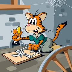 Katze stellt Mausefalle im Keller auf, Cartoon, Szene