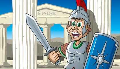 römischer Legionär, Zenturio mit Schwert und Schild vor Säulen, Cartoon