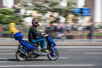 Speed motobike on a city street