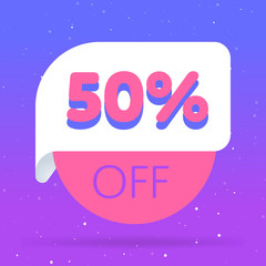 50% off discount sticker. Special offer sale red tag isolated vector illustration. Discount offer price label, symbol for advertising campaign in retail, sale promo marketing