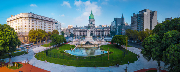 Panorama of the city of Buenos Aires. Aerial panorama of the square near Congreso at sunny day. Argentina Wall mural