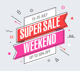 Weekend Super Sale banner template in flat trendy memphis geometric style, retro 80s - 90s paper style poster, placard, web banner design