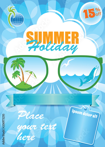 sea summer holiday template vector blue background vacation flyer