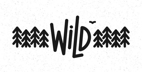 Vector flat illustration: Line typography lettering of Wild pine forest and bird.