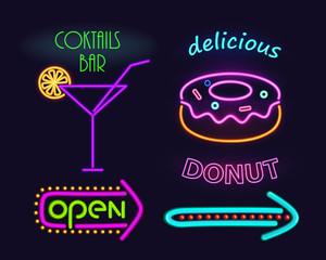 Cocktails Bar and Donut Set Vector Illustration