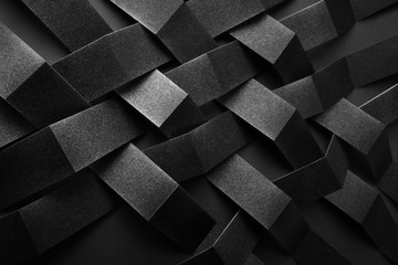 Conceptual composition with black geometric shapes, abstract background