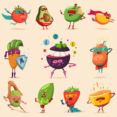Funny fruits and vegetables in superhero costume. Vector concept illustration for a healthy eating and lifestyle. Cute food cartoon flat character vector set.