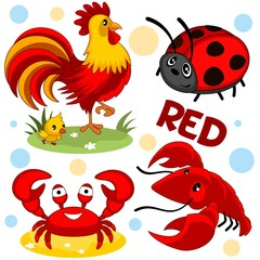 A set of wild and domestic animals and insects of red color for children and design. A picture of a ladybird, a rooster with chicken, crab and shrimp.