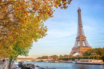 Eiffel tower and the river Seine, yellow automnal trees, Paris France