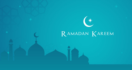 Ramadan Kareem Background Vector illustration. Night view of Mosque with copy space.