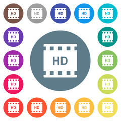 HD movie format flat white icons on round color backgrounds