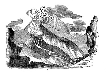 Pico Viejo or Chahorra - volcano located on the island of Tenerife, Canary Islands, Spain (from Das Heller-Magazin, June 28, 1834)