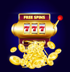 "777 slots 3d machine with big win coins and inscription ""free spins"".  Lucky sevens jackpot poster for casino on blue background with coins. Vector illustration."
