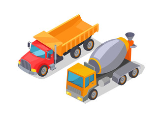 Cement-Mixer and Lorry Poster Vector Illustration