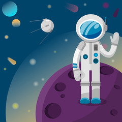 astronaut standing on a planet waving hello to a satellite in space vector illustration