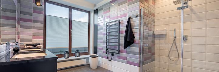 Bathroom with brick tiles