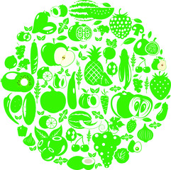 Fruits and vegetables berries. Organic food icons vector illustration