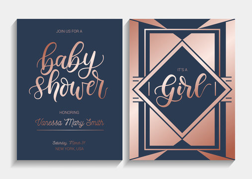 Baby shower cards set with lettering. Modern geometric design with navy blue and  rose gold colors. Elegance invitation for baby shower. Vector illustration.