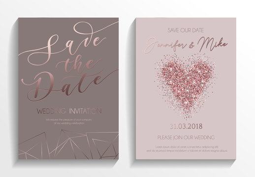 Wedding invitation card set. Modern design template with rose gold glitter heart and lettering. Elegance wedding invitation with geometric elements. Vector illustration..