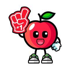 Apple number 1 fans mascot cartoon illustration