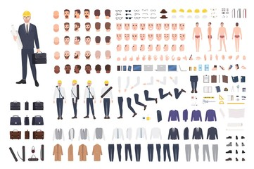 Architect or engineer constructor or DIY kit. Collection of male cartoon character body parts, facial expressions, gestures, clothes, working tools isolated on white background. Vector illustration.