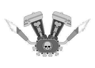 Engine bike Skull. Biker club sign. Motor motorcycle isolated. Vector illustration.