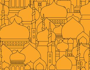 Mosque Islamic pattern seamless.  Ramadan Kareem Greeting Card. Background for Muslim holiday Eid Mubarak. Vector illustration