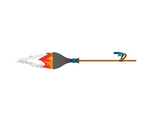 Witch broom Isolated. Broomstick Speeding turbo. Halloween Vector illustration.