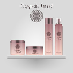 Set of realistic gradient color cosmetic bottle. 3D mockup bottle isolated on white background. Cosmetic products package.